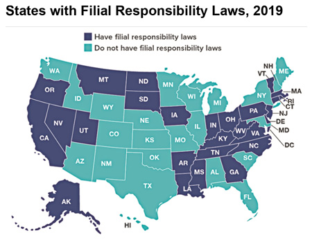States with Filial Responsibility Laws, 2019