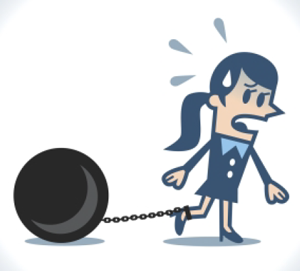 illustration of woman with ball and chain attached