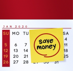 calendar with save money post-it