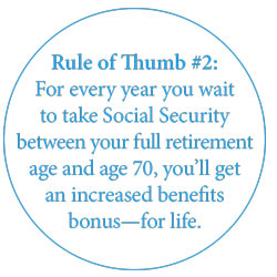 For every year you wait to take Social Security between your full retirement age and age 70, you'll get an increased benefits bonus-for life.